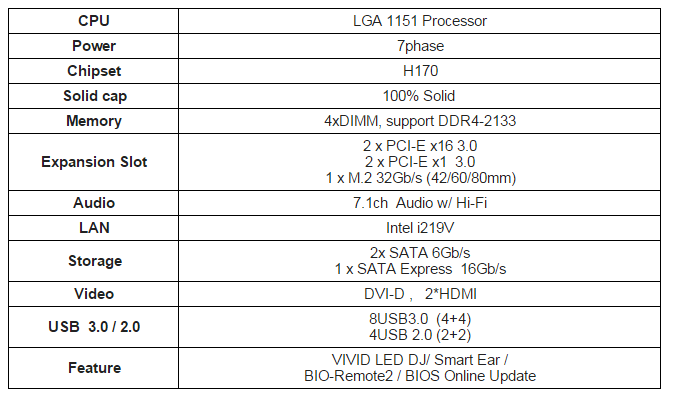H170GT3 Specifications