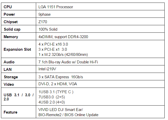 Z170GT7 Specifications