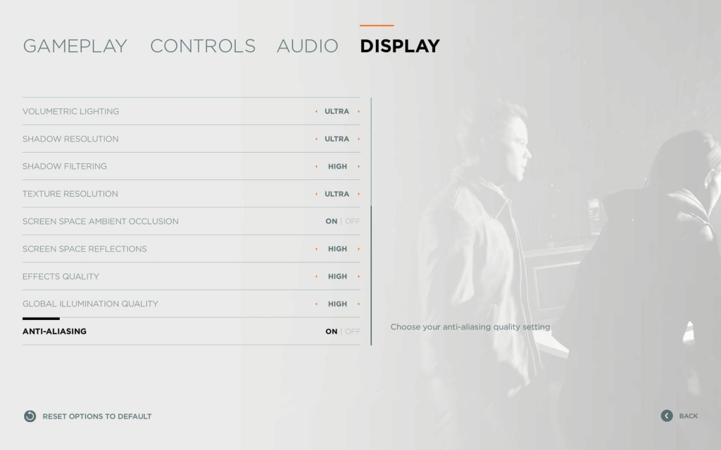 Quantum Break's PC Display Options Menu 1