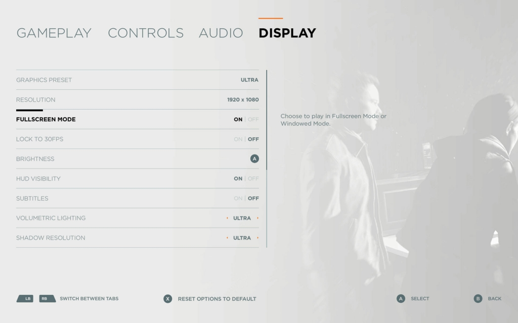 Quantum Break's PC Display Options Menu