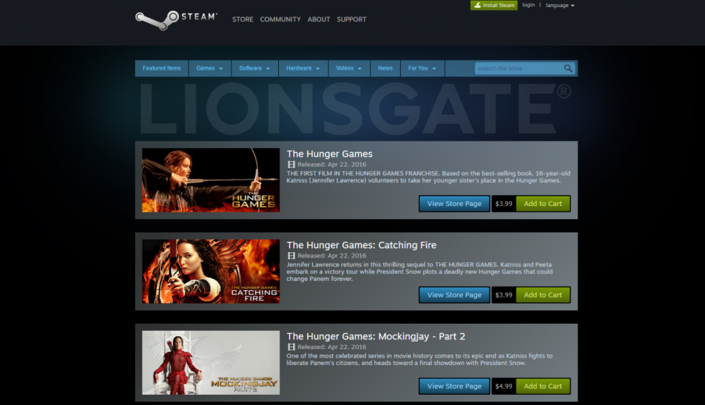 Lionsgate launches films on Steam