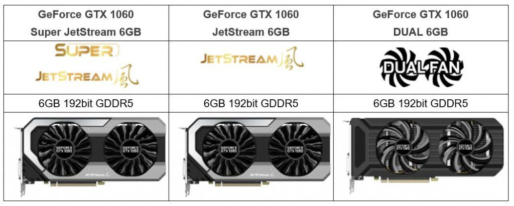 Palit GeForce GTX 1060 JetStream 6GB series