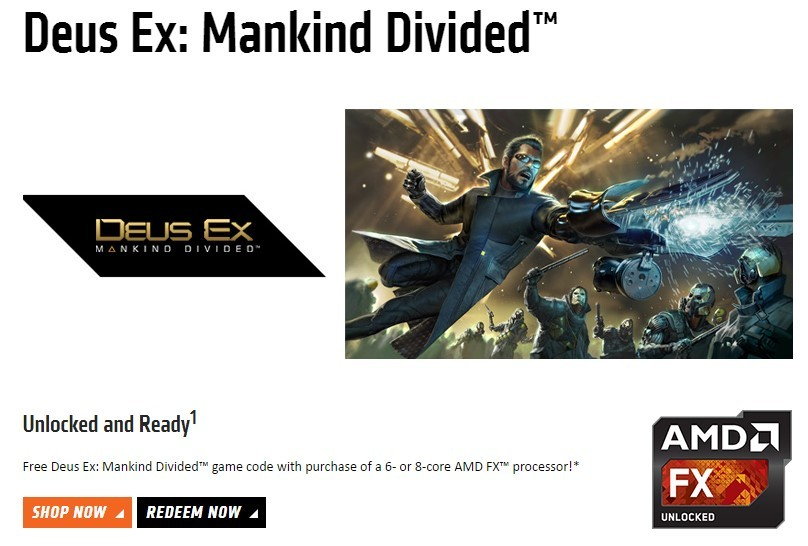 Deus Ex Mankind Divided AMD promo