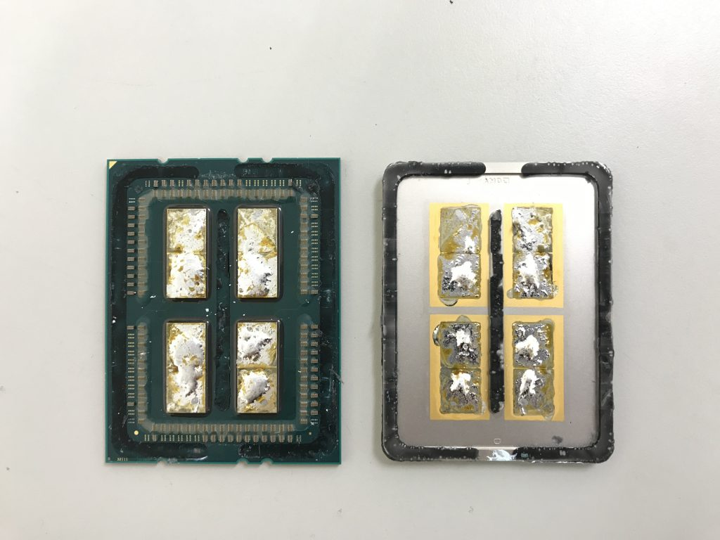 Threadripper has been de-llided, revealing AMD using 4 CPU Dies and they are soldered
