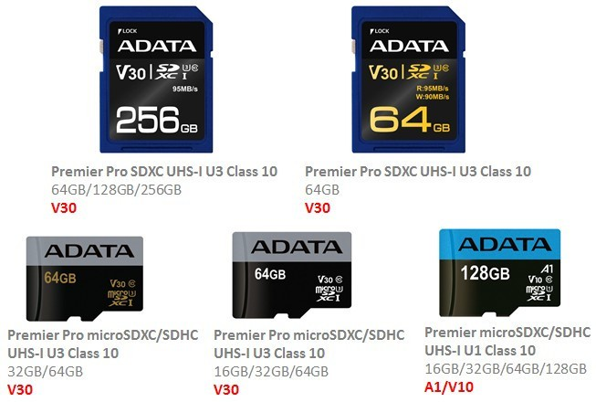 ADATA Implements SD A1 and V10/V30 Standards on Premier and Premier Pro Cards
