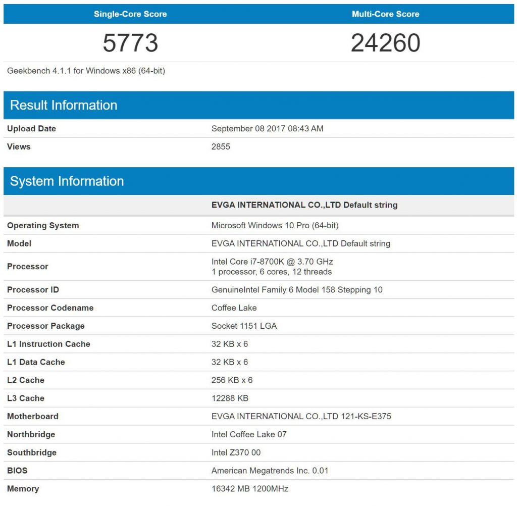 Intel Core i7-8700K benchmarks scores spotted on Geekbench database