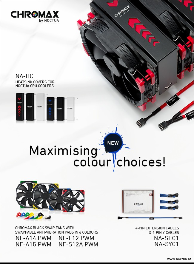 Noctua Introduces Chromax Line Fans, Cables and Heatsink Covers for NH-U12S and NH-D15 series CPU coolers