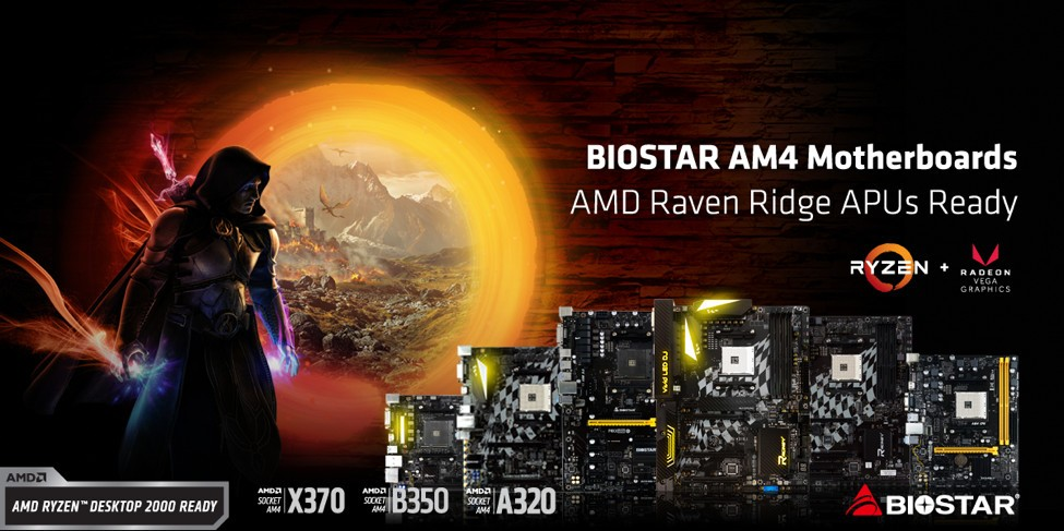 BIOSTAR Announces their AM4 Motherboards are AMD Raven Ridge APUs Ready