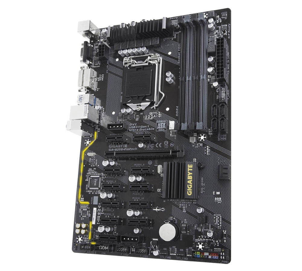 GIGABYTE Launched the B250-FinTech Motherboard with 12 PCIe Slots