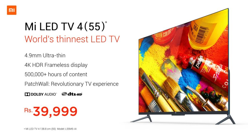Xiaomi today launched their Mi LED Smart TV 4 in India
