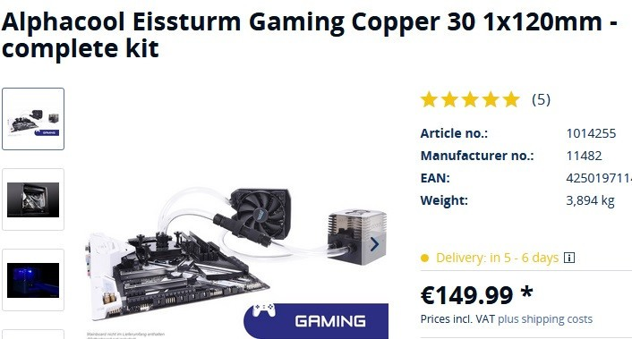 Alphacool Announces Its Eissturm Gaming Watercooling Sets