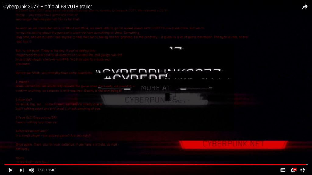 CD Projekt Red Releases Cyberpunk 2077 Trailer Featuring A Hidden Message