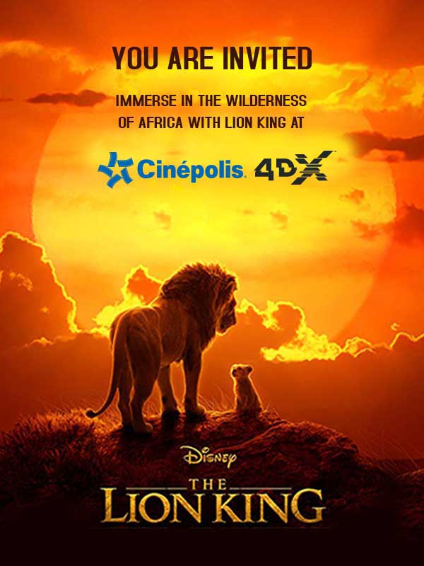Immerse in the wilderness of Africa with 'The Lion King' at Cinépolis 4DX