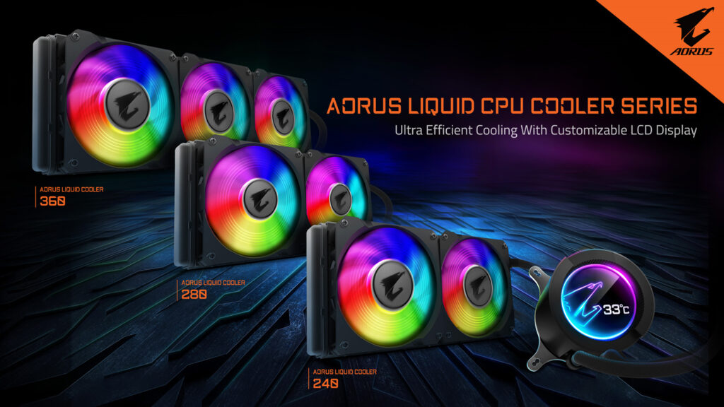 GIGABYTE Goes All-In-One With AORUS LIQUID COOLER Series Featuring Customizable LCD Display