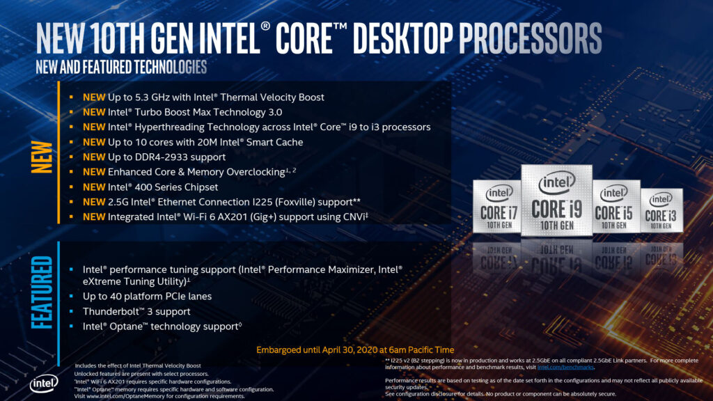 Intel Announced 10th Generation Comet Lake Desktop Processors and 400-Series Chipsets, here's everything you need to know