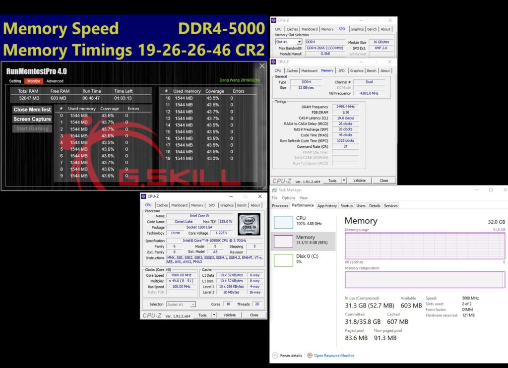 G.SKILL DDR4 Memory Reaches Extreme Speeds with 10th Gen Intel Core Processors