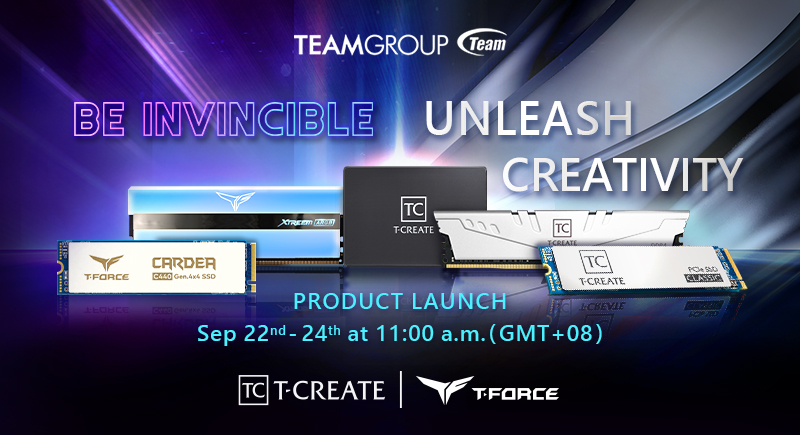 Experience the Invincible Gaming Force and Stunning Creativity at TEAMGROUP's Online Launch Event 2020 T-FORCE X T-CREATE is Coming with Great Momentum