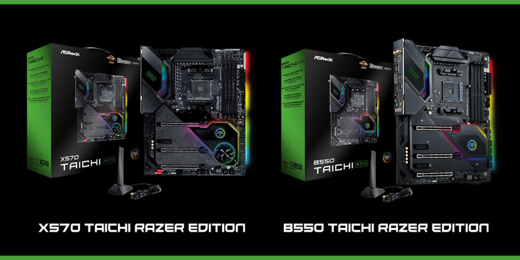 ASRock Launches X570 and B550 Taichi Razer Edition Motherboards